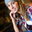 Trendy girl with hat — Stock Photo