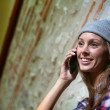 Girl talking on smartphone — Stock Photo