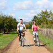 Couple riding bicycles — Stock Photo