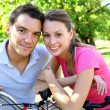 Couple on a bike ride — Stock Photo