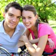 Couple on a bike ride — Stock fotografie