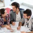 Students at meeting — Stock Photo