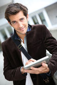 Student with tablet — Stock Photo