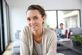 Cheerful woman at home — Stock Photo