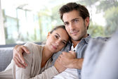 Lovely couple at home — Foto de Stock