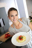 Woman preparing pasta — Stock Photo