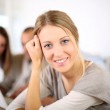 Blond girl in class — Stock Photo