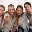 People showing thumbs up — Stock Photo