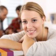 Student girl in class — Stock Photo
