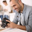 Cheerful reporter working — Stock Photo