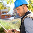 Foreman using tablet — Stock Photo