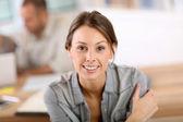 Woman attending business class — Foto de Stock