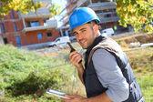 Foreman with walkie talkie — Stock Photo