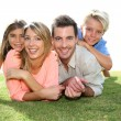 Foto Stock: Portrait of family in summer time