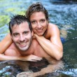 Foto Stock: Couple bathing in river waters