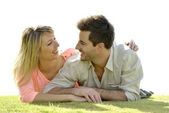 Couple relaxing in private garden — Stock Photo