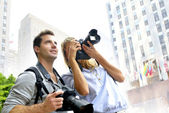 Photographers in training session — Stock Photo