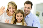 Family chating on internet — Stock Photo