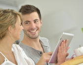 Couple checking on mails — Stock Photo