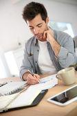 Salesman working on budget — Stock Photo