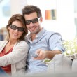 Couple watching 3D movie — Stock Photo