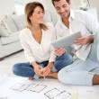 Couple celebrating house purchase — Stock Photo
