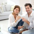 Couple celebrating house purchase — Stock Photo #39700949