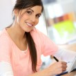 Business girl in office — Stock Photo