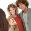 Couple getting keys — Stock Photo #39705359