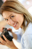 Reporter looking at camera — Stock Photo