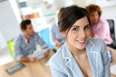 Businesswoman in work meeting — Stock Photo