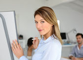 Businesswoman doing presentation — Stock Photo