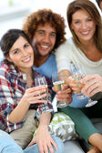 Friends cheering with wine — Stock Photo