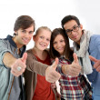 Students showing thumbs up — Stok fotoğraf