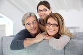Family wearing eyeglasses — Stock Photo