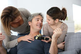 Family celebrating fathers day — Stock Photo