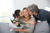 Family celebrating mothers day — Stockfoto