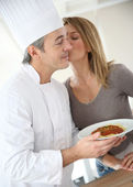 Chef preparing pasta — Stock Photo