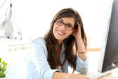 Business girl with eyeglasses — Stock Photo