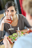 Woman in restaurant eating lunch — Stock Photo