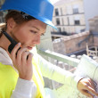 Woman engineer with radio set — Stock Photo
