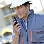 Builder using walkie-talkie — Stock Photo #47787715