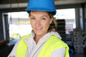 Worker standing on site — Stock Photo