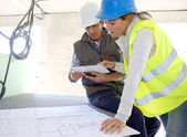 Engineers on building site — Stock Photo
