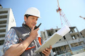 Entrepreneur on building site — Stock Photo