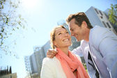Sweet couple in urban area — Stock Photo