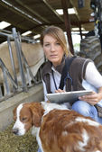 Woman veterinarian with tablet — Stock Photo