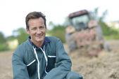 Gülen çiftçi — Stok fotoğraf