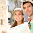 Tourists reading city map — Stock Photo #47818153