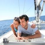 Couple on sailboat deck — Stock Photo